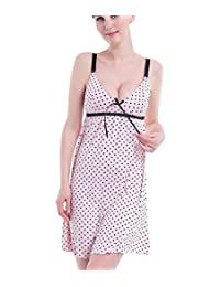 LANFEI Maternity Nursing Chemise Sleepwear Sleeveless Breastfeeding Nightdress
