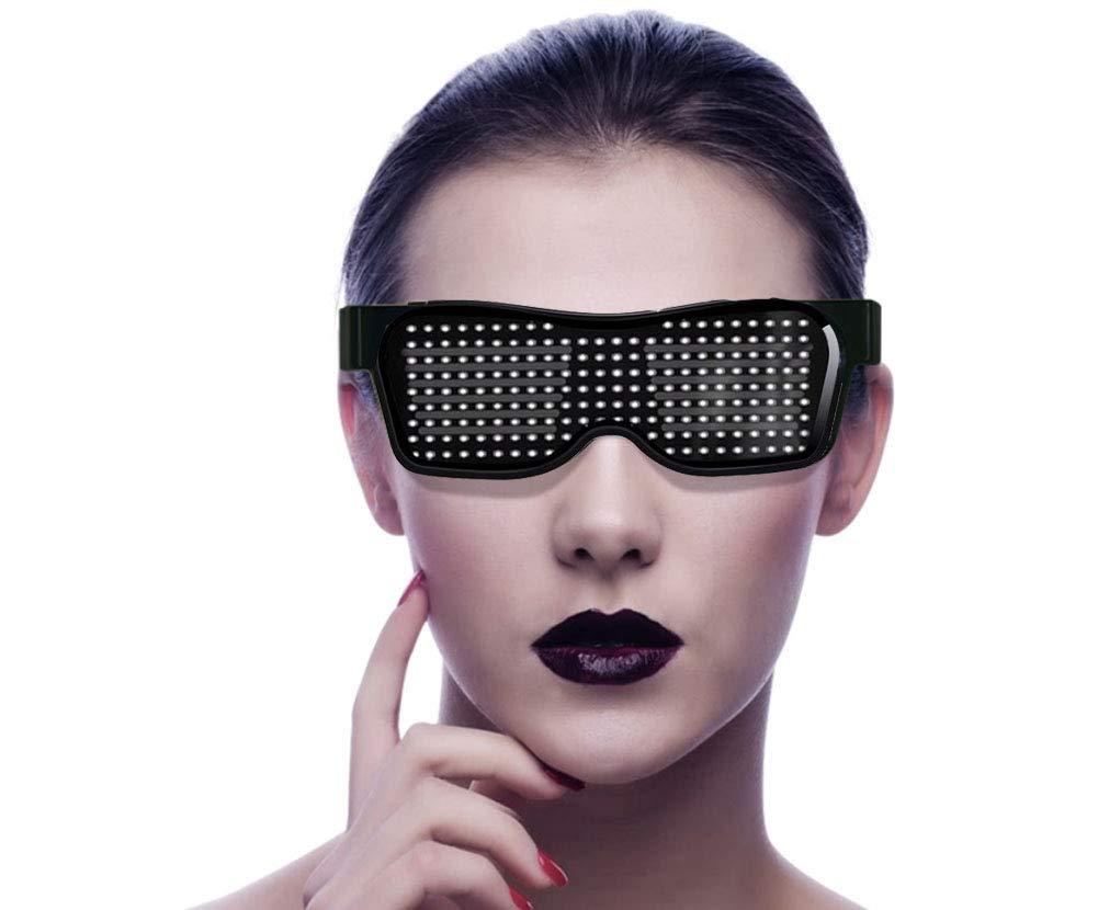 9 Schnelle Blitzmodi Wiederaufladbar Geeignet f/ür Nachtclubs Arbeitszeit 5 H SUNSEATON LED Partybrillen Konzerte Halloween Telefon Bluetooth APP Steuerung Blau LED Leuchten Brillen DJ