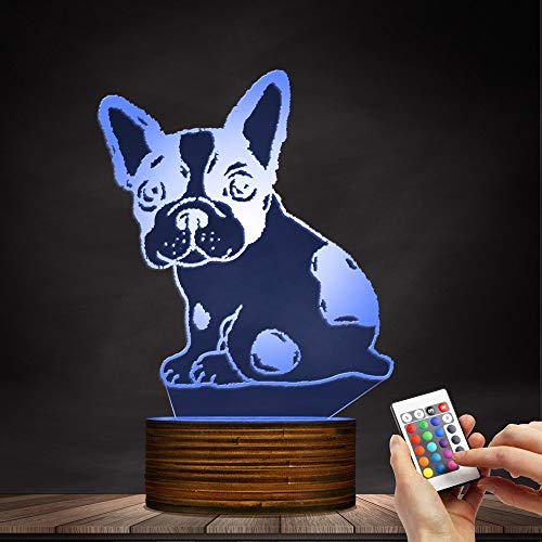Novelty Lamp, Optical Illusion 3D LED Lamp Night Light French Bulldog, USB Powered Remote Control Changes The Color of The Light, Bedroom Table Lamp, Children's Gift, Home Decoration,Ambient Light by LIX-XYD (Image #5)