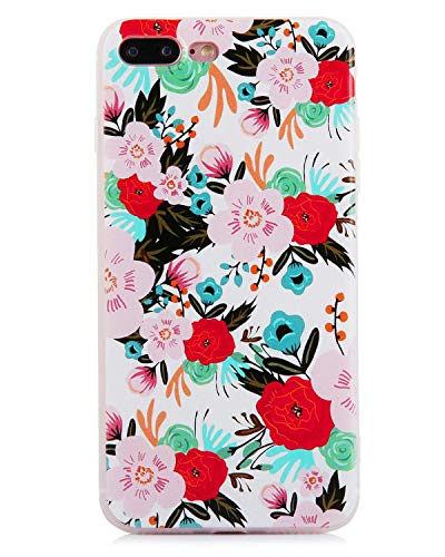 White Pattern Frosted - Flower Phone Case Compatible iPhone 7 Plus iPhone 8 Plus Watercolor Floral Pattern Clear Frosted TPU Slim Flexible Shockproof Phone Cases Women Girls[5.5
