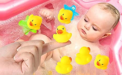 Digabi Set of 60 1.4 Mini Yellow Ducks Rubber Bath Toy Pure Natural Cute PVC Rubber Ducky for Baby Kinder Toys 60pcs Bath Toys Activity & Entertainment