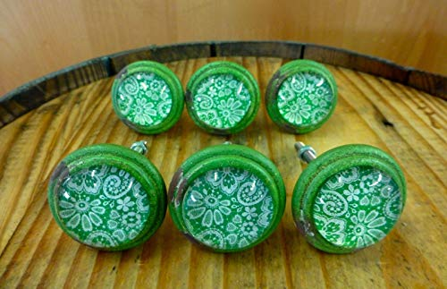 6 Green-White LACE Glass Drawer Cabinet PULLS KNOBS Vintage Distressed Hardware Distressed Antique Brass Cup Pulls