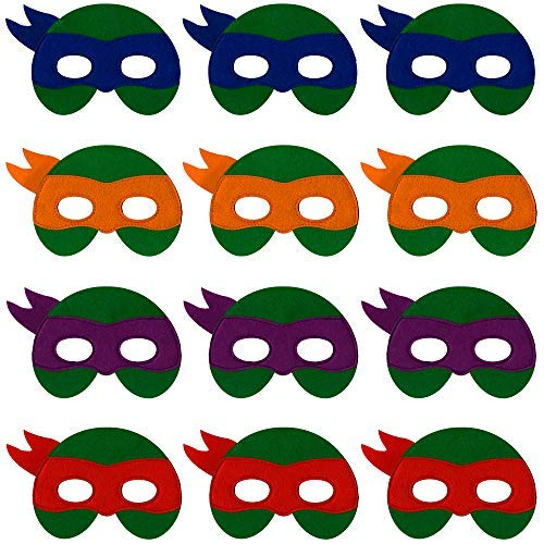 Ninja Turtle Masks for Kids - 12 Felt Toy Masks, Best Birthday Party Ninja Turtles Supplies Favors for Goodie Bag, Gifts, -