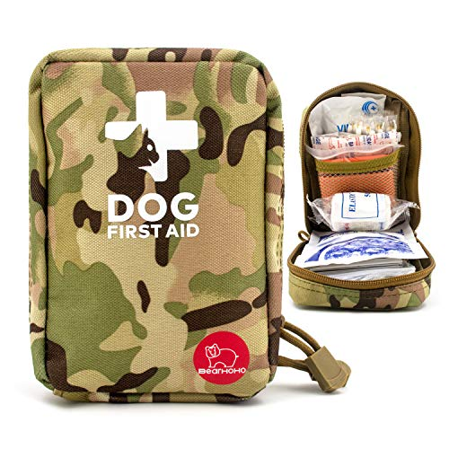 BearHoHo Portable Dog First Aid Kit 72 PCS Medical Servial Supplies with Thermometer Emergency Blanket Splint Pet Safety Protection Bag for Camping Walks Cycling Car Hiking