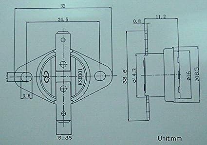 Thermostat Bimetall Disc Temperatur-Schalter. Electronics-Salon 10PCS KSD301 Normalerweise offen keine 95 /°C