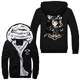 Mens Fleece Hoodie Coat Sword Art Online SAO Kirito Asuna Zip up Hoodie Jacket Costume Outwear (L)