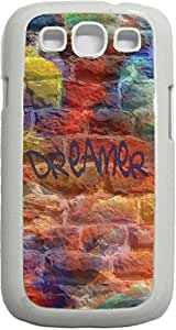 Dreamer-Colorful Graffiti Wall-Art- Case for the Samsung Galaxy S III-S3- Hard White Plastic Snap On Case