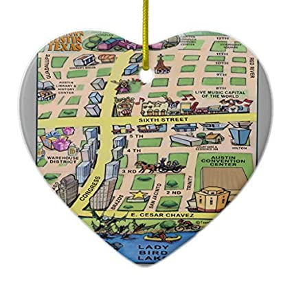 novelty christmas tree decor downtown austin texas cartoon map ornament heart christmas decorations ornament crafts