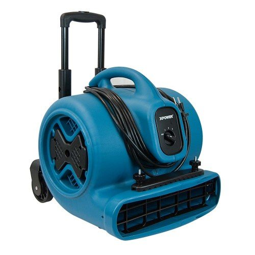- XPOWER P-630HC Air Mover, Dryer, Fan, Blower with Telescopic Handle, Wheels, Carpet Clamp for Water Damage Restoration, Commercial Cleaning & Plumbing Use-1/2 HP, 2800 CFM, 3 Speeds, Blue