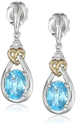 Diamond Blue Topaz Ring Earrings (Sterling Silver and 14k Yellow Gold Diamond Accent Swiss Blue Topaz Love Knot Earrings)