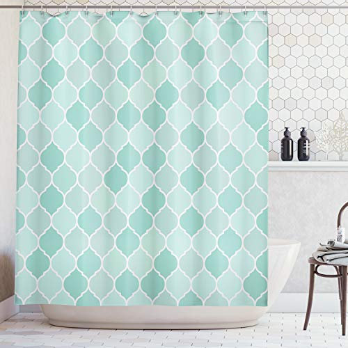 Ambesonne Turquoise Decor Collection, Lined Endless Chained Tiled European Medieval Gradient Patterns Mosaic Ceramic Illustration, Polyester Fabric Bathroom Shower Curtain Set with Hooks, Blue
