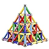 Veatree 144 Pieces Puzzle Magnetic Building Blocks Toys Magnet Construction Build Kit Education Toys for Kids Playing Stacking Game with Magnetic Bricks and Sticks