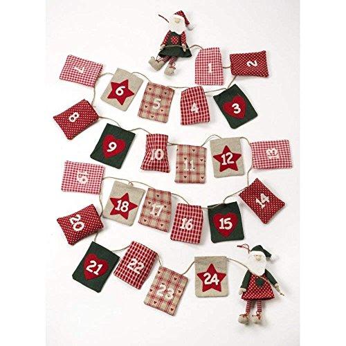 Heaven Sends Fabric Santa Christmas Advent Garland Calendar -