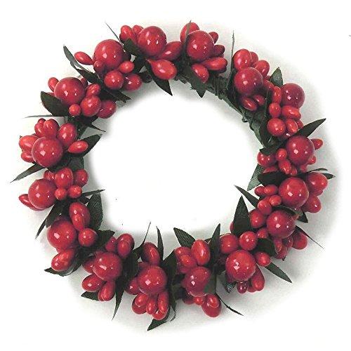 Ghirlanda portacandele di Natale, con bacche rosse, per candele da 7 cm sweroxx