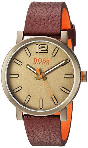 HUGO BOSS Men's 'BILBAO' Quartz Stainless Steel and Leather Casual Watch, Color:Brown (Model: 1550036)