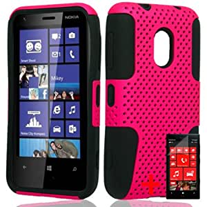 NOKIA LUMIA 620 PINK BLACK PERFORATED HYBRID COVER HARD GEL CASE + FREE SCREEN PROTECTOR from [ACCESSORY ARENA]