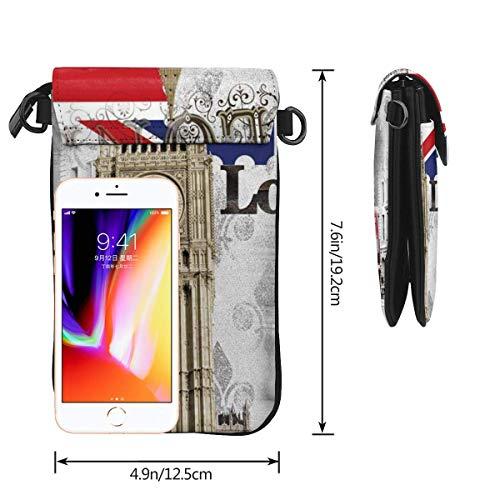 Hdadwy mobiltelefon crossbody väska London Big Ben kvinnor PU-läder mode handväska med justerbar rem