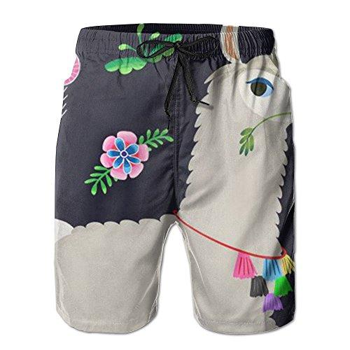 Game Life Shorts Docile Alpaca Mens Tree Quick Dry Swim Trunks Beach Shorts With Mesh Lining (Short Life Set Sea)