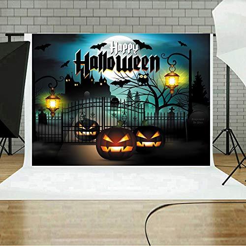 MOKO-PP Halloween Backdrops Pumpkin Vinyl 5x3FT Lantern Background Photography Studio I(I)