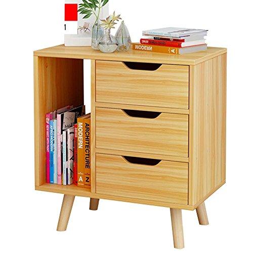Amazon.com: Mesita de noche con base de madera, con cajón y ...