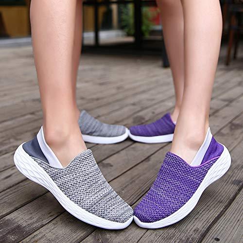 Casuales Suave Negro tamaño EU Mujeres Transpirable 37 Zapatillas Caminar Qiusa Malla Púrpura Zapatos para Color qaXPEPHw