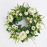 Spring wreath with Ranunculus, daisies, cream, Ø 10' / 25 cm - Plastic wreath / Artificial flower wreath - artplants