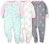 Gerber Onesies Baby Girl Sleep N Play Sleepers 3 Pack (3-6 Months, Clouds)