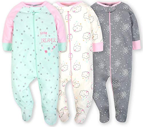 Baby Girl Footed Sleeper - Gerber Onesies Baby Girl Sleep N Play Sleepers 3 Pack (3-6 Months, Clouds)
