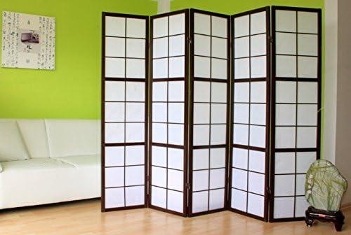 VCM PA283 schwarz - Biombo de madera con 5 paneles: Amazon.es: Hogar