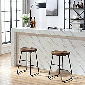 O K Furniture Contoured Saddle Seat 24-Inch Backless Bar Stool Chair for Home Kitchen Island or Counter, Wooden Barstool with Metal Leg, Vintage Walnut, 1-Pcs