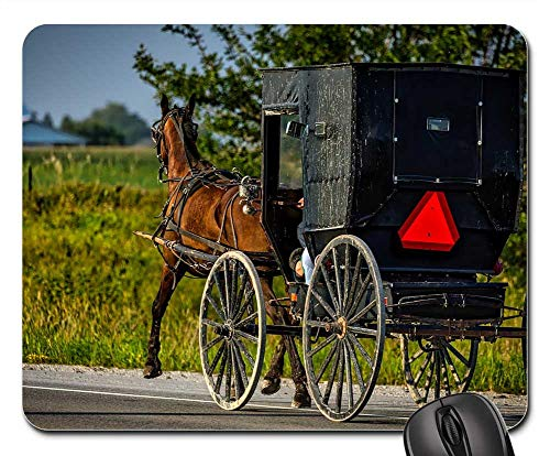 Mouse Pad - Amish Iowa Horse Buggy Carriage Vintage