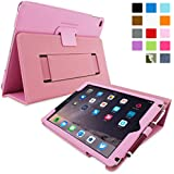 Snugg iPad Air 2 Case - Smart Cover with Flip Stand & Lifetime Guarantee (Candy PInk Leather) for Apple iPad Air 2 (2014)