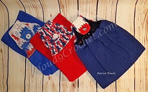 Red, White, and Blue Hanging Towels. Great to hang on BBQ grill handles for easy access when needed.