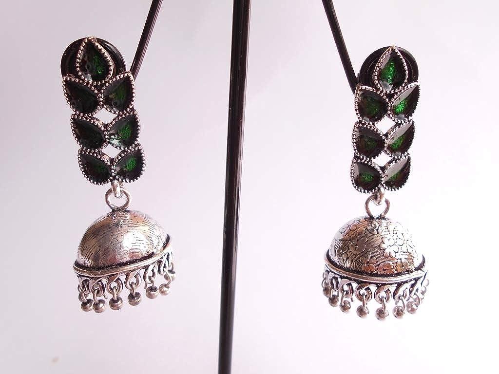 Ethnic Handmade .925 Silver Plated Oxidized Enamel Jhumki Jhumka Earring GS77