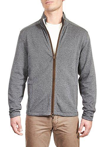 Thaddeus Mens Micah LS 95% Cotton 5% Spandex bird's Eye Zip Cardigan Charcoal (Zip Cardigan)