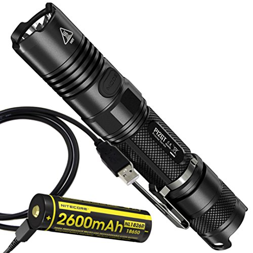 Nitecore P12GT 1000 Lumens Compact Tactical LED Flashlight with Nitecore Built-in USB Rechargeable 18650 Battery (1000 Series External Battery)