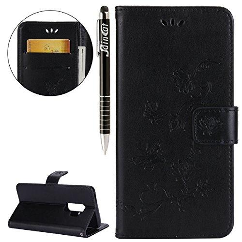 Funda Samsung Galaxy S9 Plus,SainCat Funda de cuero sintético tipo billetera con correa de cordón de Suave PU Carcasa Con Tapa y Cartera,Carcasa de Cuero Suave PU Leather de piel mariposa Funda Wallet Negro