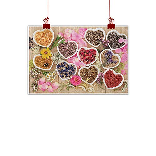 Sunset glow Wall Art Print Home Decor Floral,Healing Herbs Heart Shaped Bowls Flower Petals on Wooden Planks Print Healthcare, Multicolor 24