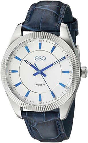 ESQ Men's Dress Stainless Steel Analog-Quartz Watch with Leather-Pig-Skin Strap, Blue, 19.3 (Model: 37ESQE15201A)