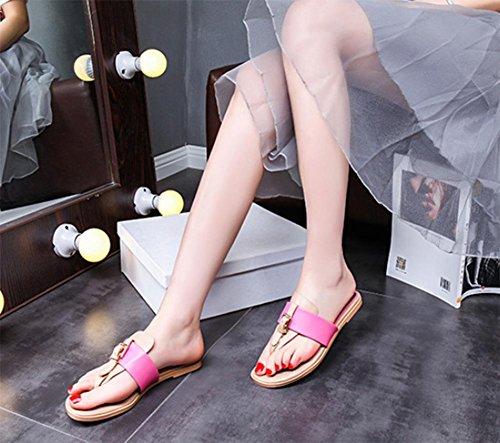 Deslizadores Mujeres Sandalias Piel Zapatillas Pink Mujer Tacón Cuadrada Bajo Las Cabeza Y De qrExwtr