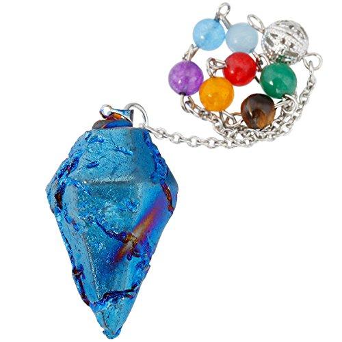 SUNYIK 7 Chakra Titanium Crystal Quartz Pendulum Healing Point Reiki Dowsing Divination Tool, Blue (Crystals Titanium Collection)