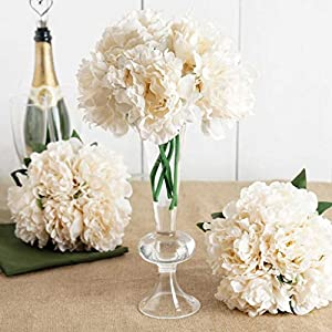 """Tableclothsfactory 5 Head Cream Artificial Peony Silk Bouquet for DIY Wedding Party Bouquets Centerpieces Decoration - 11"""" Tall 95"""