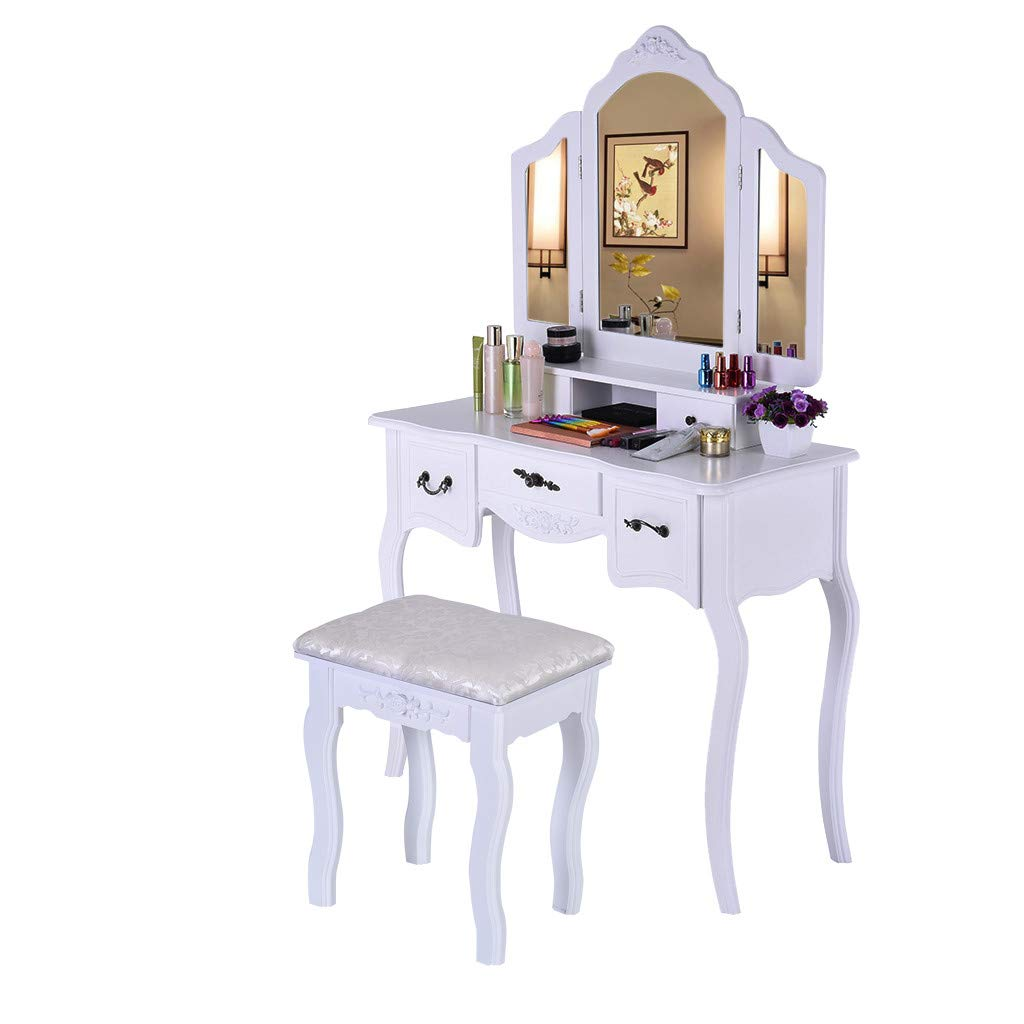 Vanity Beauty Station - Large Tri-Folding 90° Rotation Detachable Mirrors, Dressing Table with 5 Storage Drawers, Makeup Dress Table with Cushioned Stool Set for Girls Women Bedroom Furniture (White)
