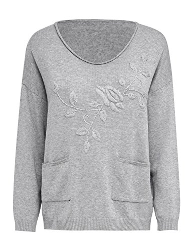 LookbookStore Women's Casual Fall Oversized Loose Long Sleeve Scoop Neck Embroidered Floral Flower Front Pockets Sweater Pullover Top for Woman Grey Size XL(US 16-18)