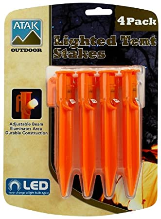 Atak 4-Piece LED Lighted Plastic Tent Stakes & Amazon.com: Atak 4-Piece LED Lighted Plastic Tent Stakes: Sports ...