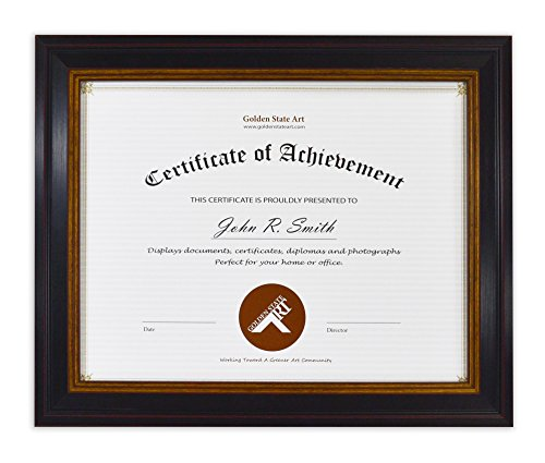 5x11 inches Certificate / Diploma Frame, Color: Black Gold & Burgundy, with Easel Stand for Table-Top and Real Glass (Gallery Diploma Frame)