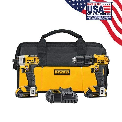 DEWALT DCK280C2R 20-Volt Max Li-Ion 1.5 Ah Compact Drill and Impact Driver Combo Kit (Certified Refurbished)