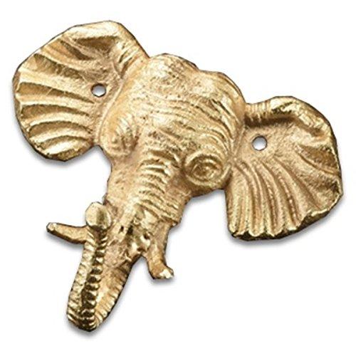 Gold Tone Safari Elephant Single Wall Hook Cast Iron 5 Inches