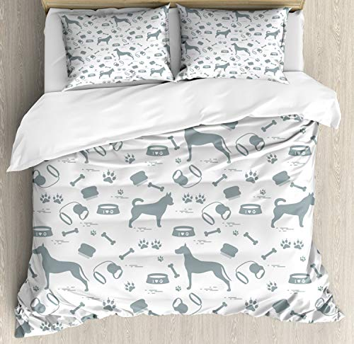 - Ambesonne Great Dane Duvet Cover Set King Size, Lovely Dog Lover Concept of Pet Silhouettes with Collar Bowl Bone, Decorative 3 Piece Bedding Set with 2 Pillow Shams, Pale Slate Blue White