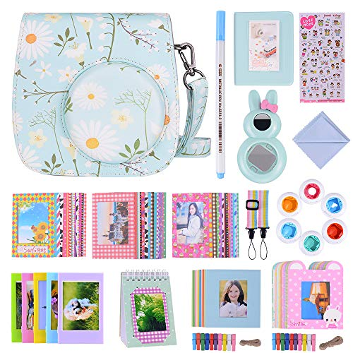Bsuuy 16 in 1 Instax Mini 9 Camera Accessories Set for Fujifilm Instax Mini 9/ Mini 8/ Mini 8+ Camera, Includes Mini 9 Case,Albums,Six Color Filters,Rainbow Shoulder Strap ETC (Chrysan Themum)